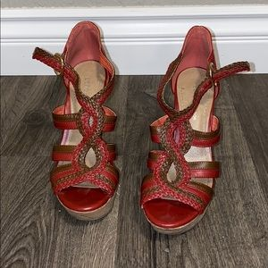 Red & Brown Thick Heel BCNG HEEL